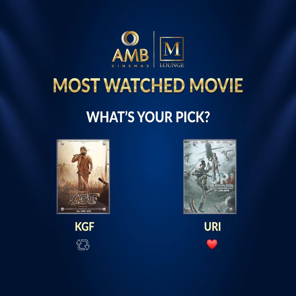 Tell us which is your favourite film?  #Blockbuster   🔁  - #KGF  ♥️ -  #URISurgicalStrike