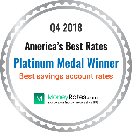 Moneyrates Americasbestrates Platinum Medal Winner They Got The Nod By Offering Highest Savings Account Rate On Average Over Fourth Quarter