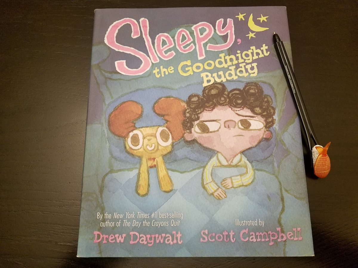 Ready for @DrewDaywalt to sign my copy of #SleepytheGoodnightBuddy with my brand-new sushi pen, both purchased from the @OakHillsCoyotes #EnchantedForestBookFair! See you at Family Night tonight! #opshares