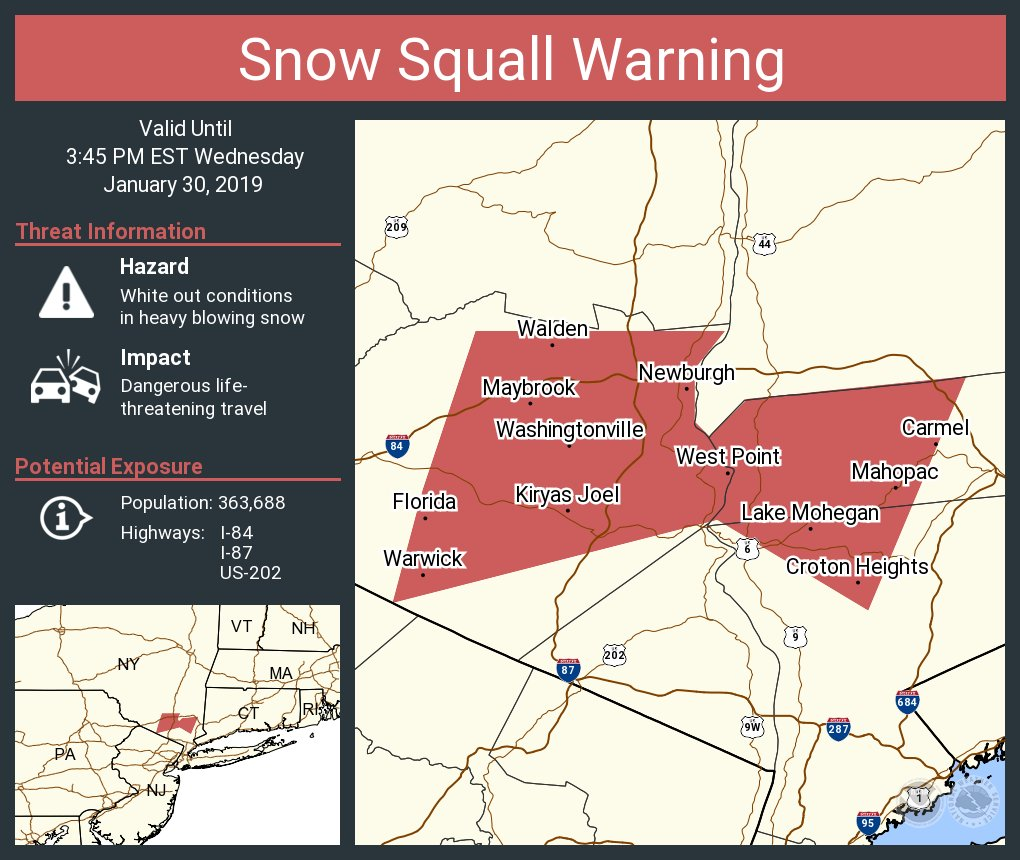 Map Of I 84 New York.Nws New York Ny On Twitter A Snow Squall Warning Continues Until 3