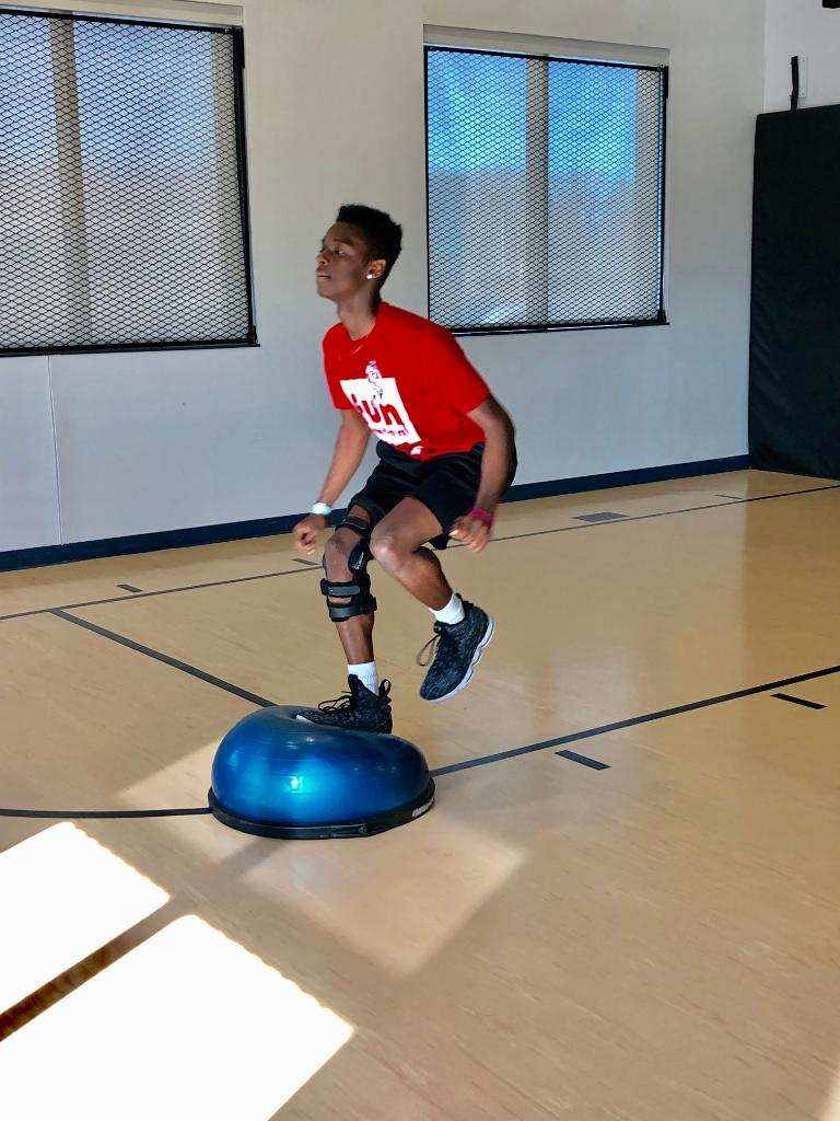 It might be cold outside, but Terrance was here today doing Functional Rehab for his knee.  He's recovering from an ACL tear and is prepping to return to basketball. http://bit.ly/1Yx76uJ   #ACL #control #stability