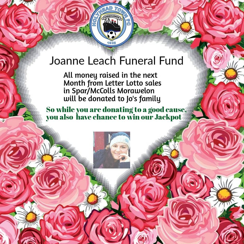 IMPORTANT: All the money made from tickets for our letter lotto sold in McColls/Spar Morawelon over the next 4 weeks will be donated to the family of Joanne Leach. A loving, caring young lady taken from us too soon.