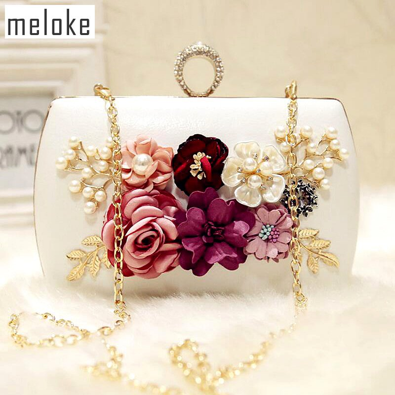 Meloke 2019 High Quality Luxury Handmade Flowers Evening Bags Brand Dinner Clutch Purse With Chain Flower Banquet Bags Mn258 Sophisticated Technologies Top-handle Bags Luggage & Bags