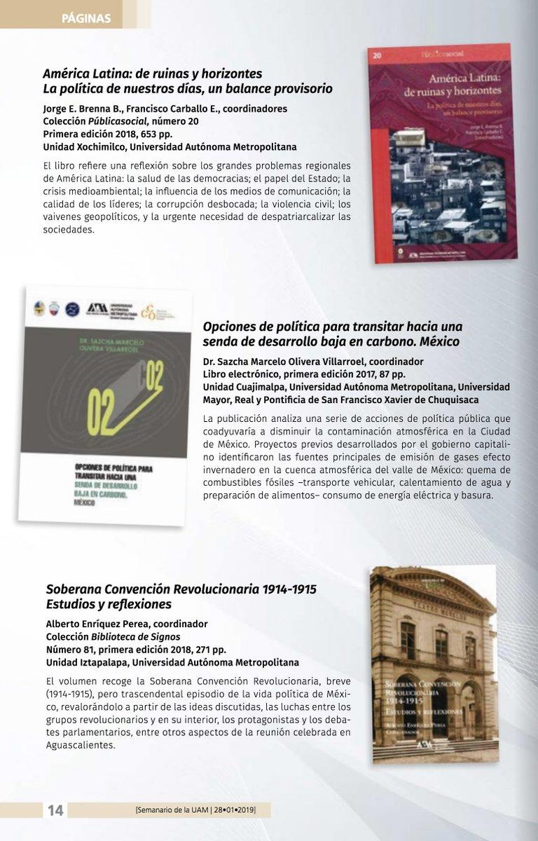 Te sugerimos consultes las sugerencias de #LibrosUAM que el #SemanarioDeLaUAM hace para ti esta semana.  http://www.comunicacionsocial.uam.mx/semanario.html