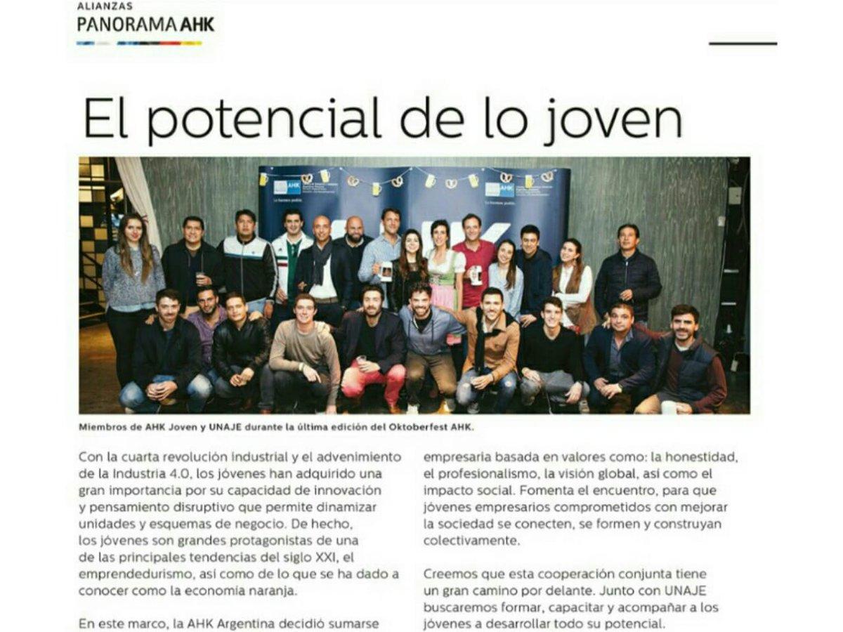 Gracias @ahkargentina por la nota publicada en la revista Panorama AHK. Estamos muy contentos de trabajar en conjunto formando, capacitando y acompañando a los jóvenes a desarrollar su máximo potencial. Nota completa en https://bit.ly/2MFaWB3 #UNAJE #Unajeate #JóvenesEmpresarios