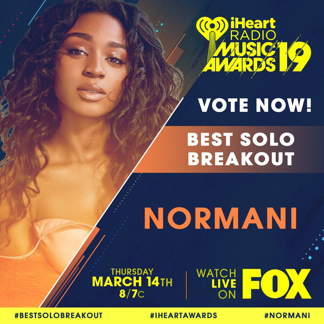 RT to vote for #Normani for #BestSoloBreakout! ✨  @Normani | #iHeartAwards
