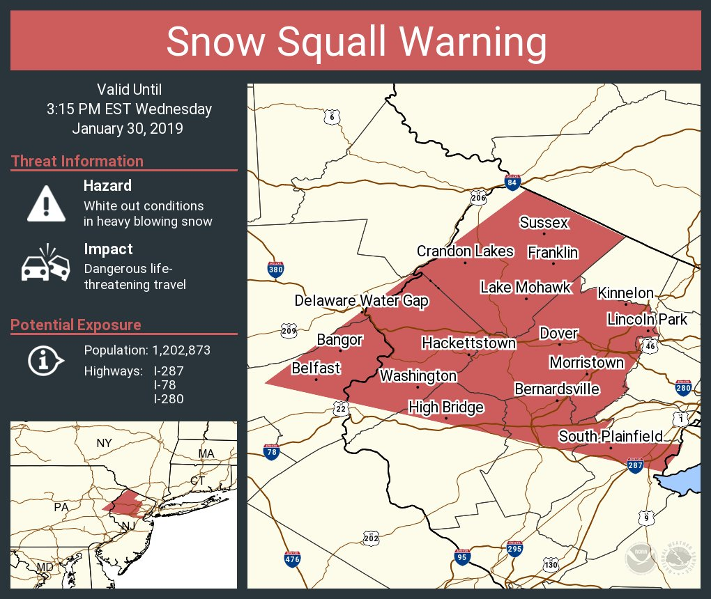 Map Of 287 New York.Nws Mount Holly On Twitter A Snow Squall Warning Is In Effect