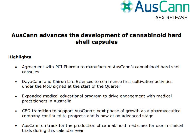 AusCann advances the development of cannabinoid hard shell capsules. You can view our December Quarterly Activities Report here: https://t.co/5DAzfcoTag @AusCannAU