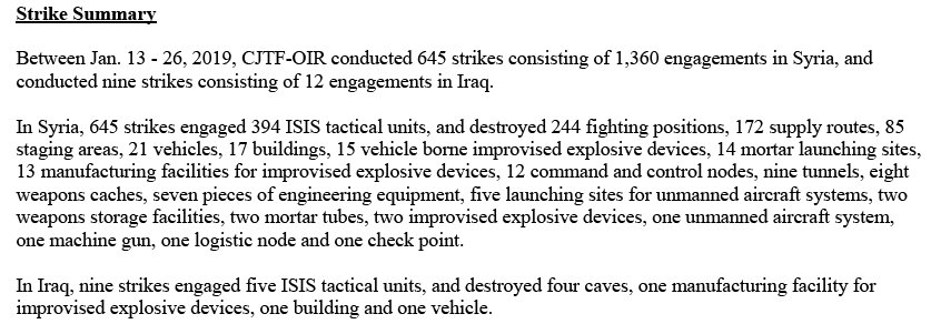 From January 13-26, the US-led coalition against the Islamic State group carried out 645 strikes against the jihadists in Syria. Trump declared them defeated last month.