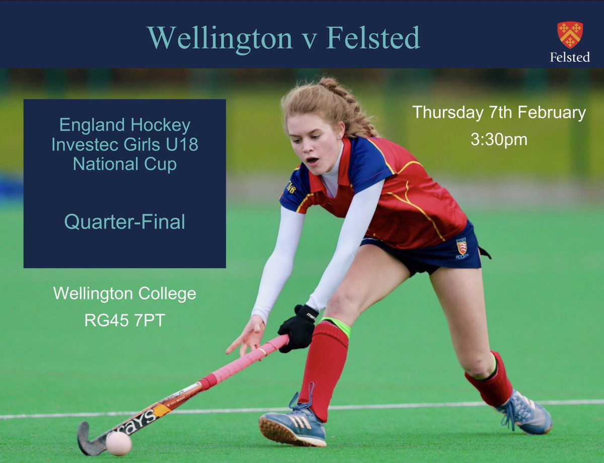 The U18 National Quarter-Final match at Wellington College will take place on Thursday 7th February at 3:30pm