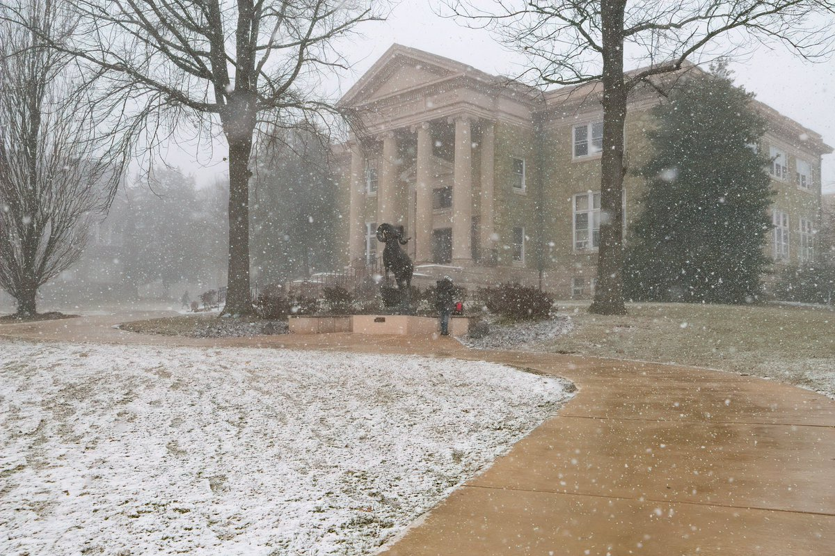 The #SnowSquall over ram country this afternoon ❄️🐏 #staywarmrams