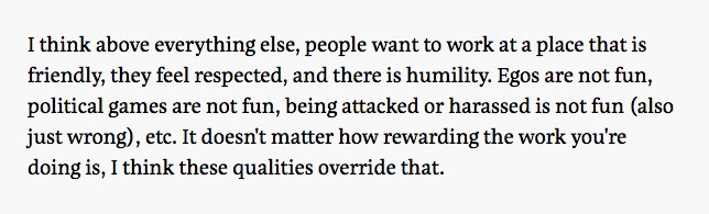 """My favorite excerpt from @mitchellh's AMA today in response to, """"What is the best way to recruit and retain a great team?"""" https://t.co/VyLlkDtch5 https://t.co/e6LP9CkiXG"""