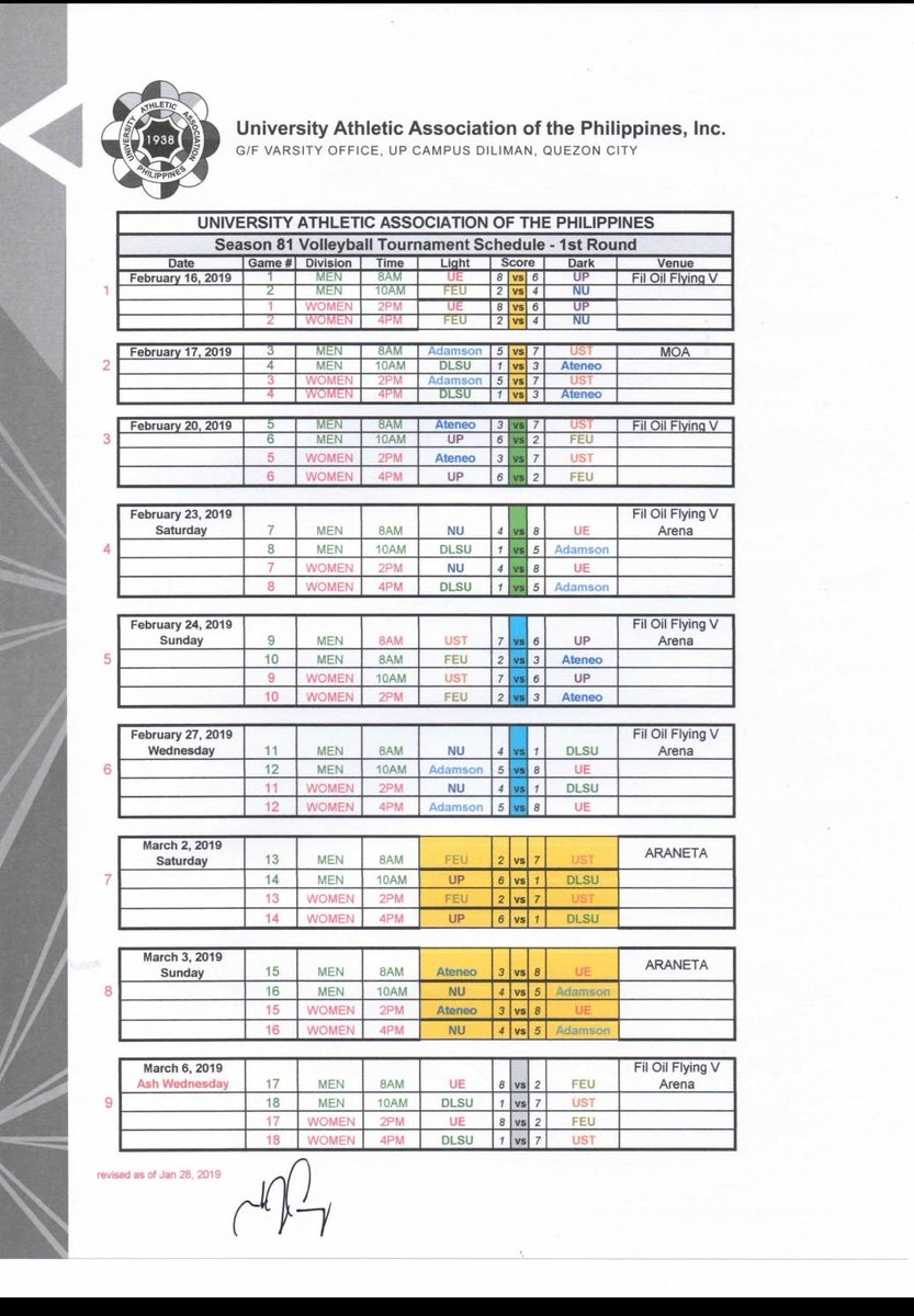 Take a look at the COMPLETE first round schedule for #UAAPSeason81Volleyball 🙌