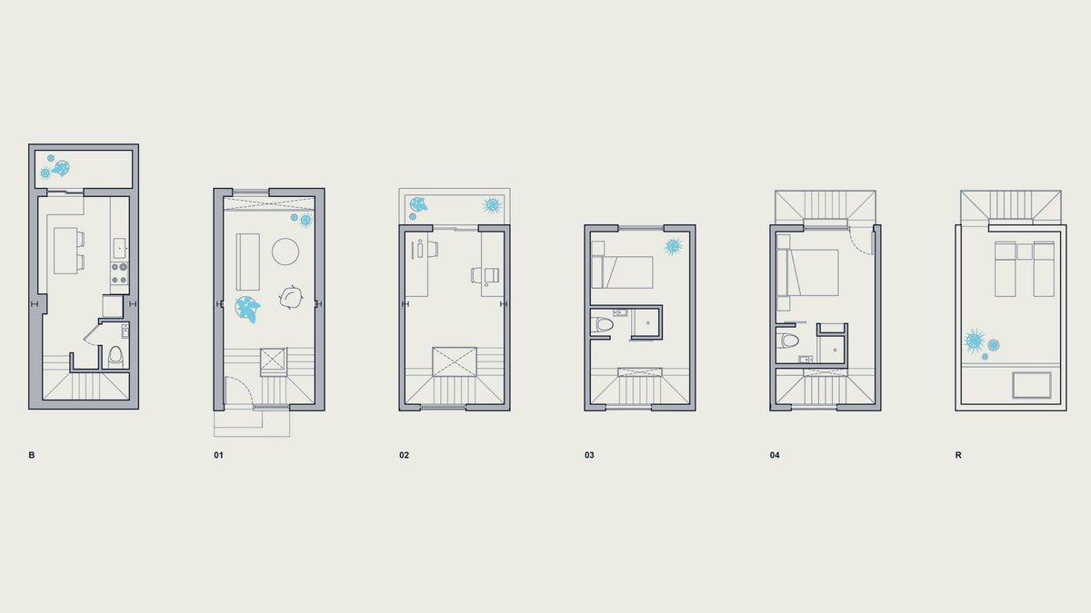 Prototipo. Edificio flexible. Para pequeñas parcelas urbanas.  Tiny Tower ISA #Brewerytown / #Filadelfia / #EEUU 116 m² / Nivel ¿Reurbanización? 5 Pisos http://www.is-architects.com/ #JuevesDeArquitectura  ¿No será una solución de vivienda orientada solamente a jóvenes?