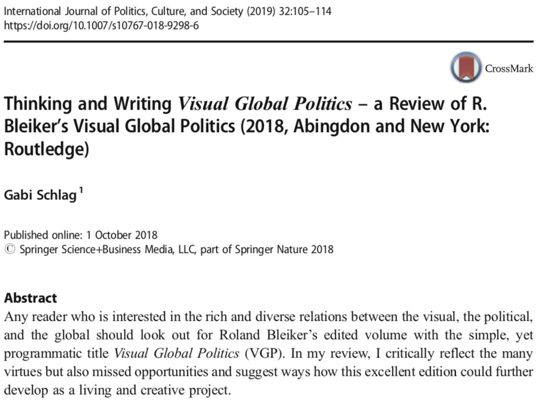 roland bleiker on twitter tanks gabi schlag for a generous review  tanks gabi schlag for a generous review essay of visual global politics in  latest issue of international journal of politics culture and society