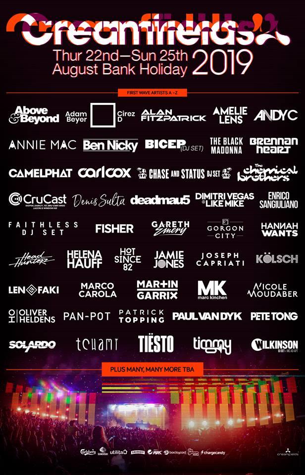 Creamfields 2019 Lineup