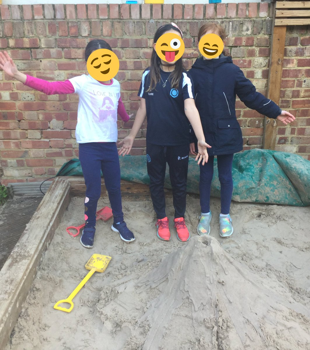 #ThisTweetIsCreatedByOurStudents Part III.  After learning about landforms, we knew we had to make the biggest volcano during playtime. I couldn't do it without them, look its got magma inside and the lava coming out!  By BF age 9 #ScienceOutsideMakesMyHandsCold @CognitaSchools