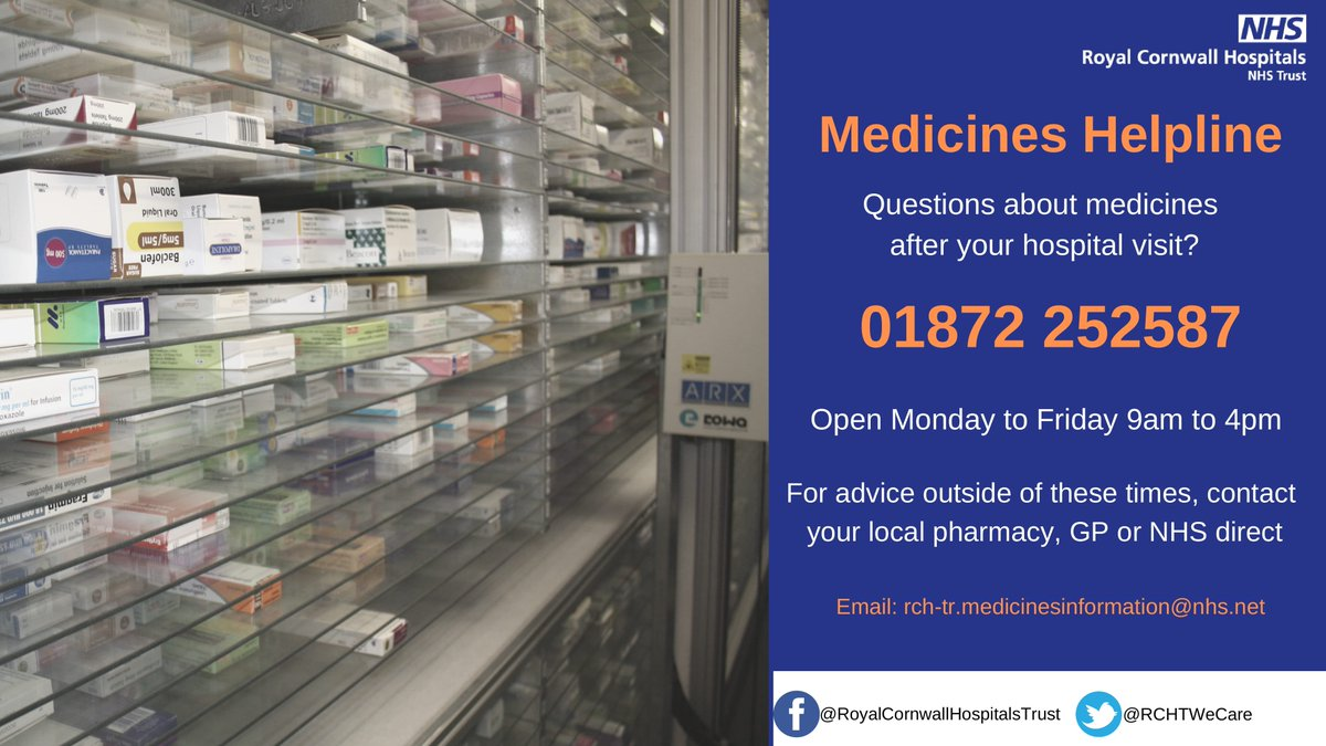 Need advice on medicine following a recent stay in hospital? Phone our Medicine Helpline for…