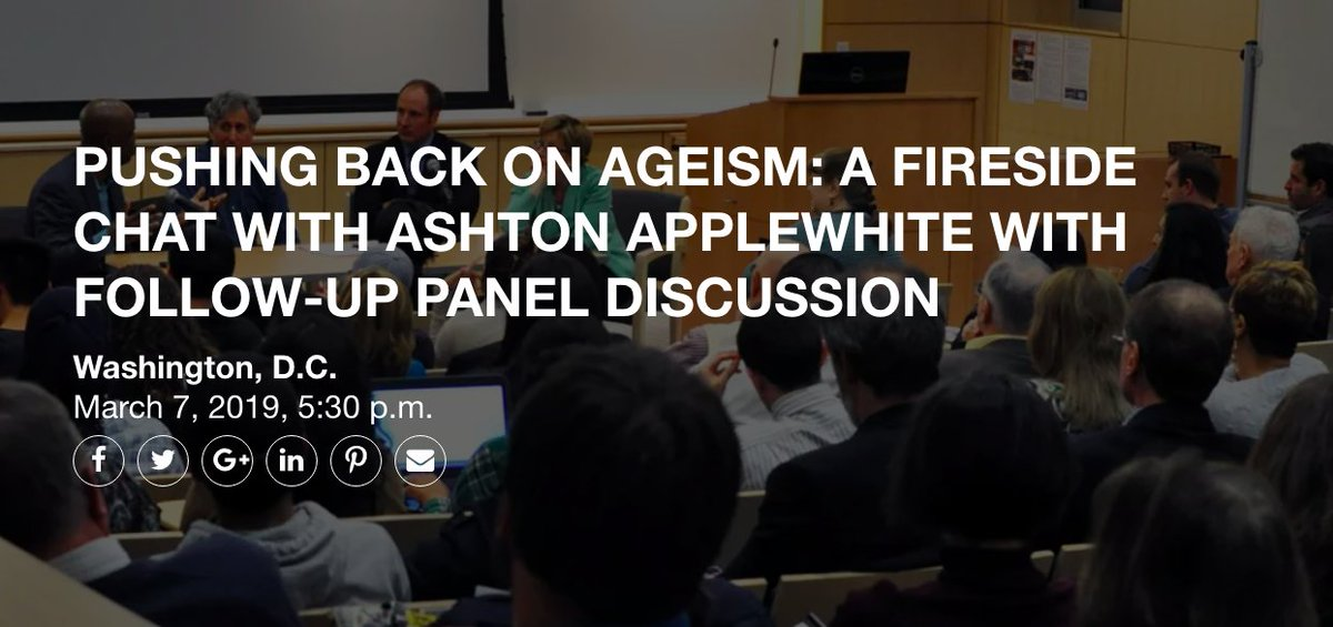 MARK YOUR CALENDARS for our March 7 event, Pushing Back on Ageism: A Fireside Chat with Ashton Applewhite with Follow-Up Panel Discussion at The Hatchery at AARP. Tickets will go fast, so visit http://ow.ly/zwIl30nwK0i to reserve your spot @mariella_zuniga @thischairrocks