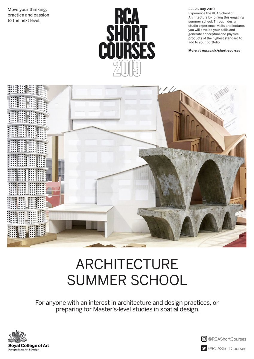Rca has announced its summer school and short course programmes for architecture interiordesign more info