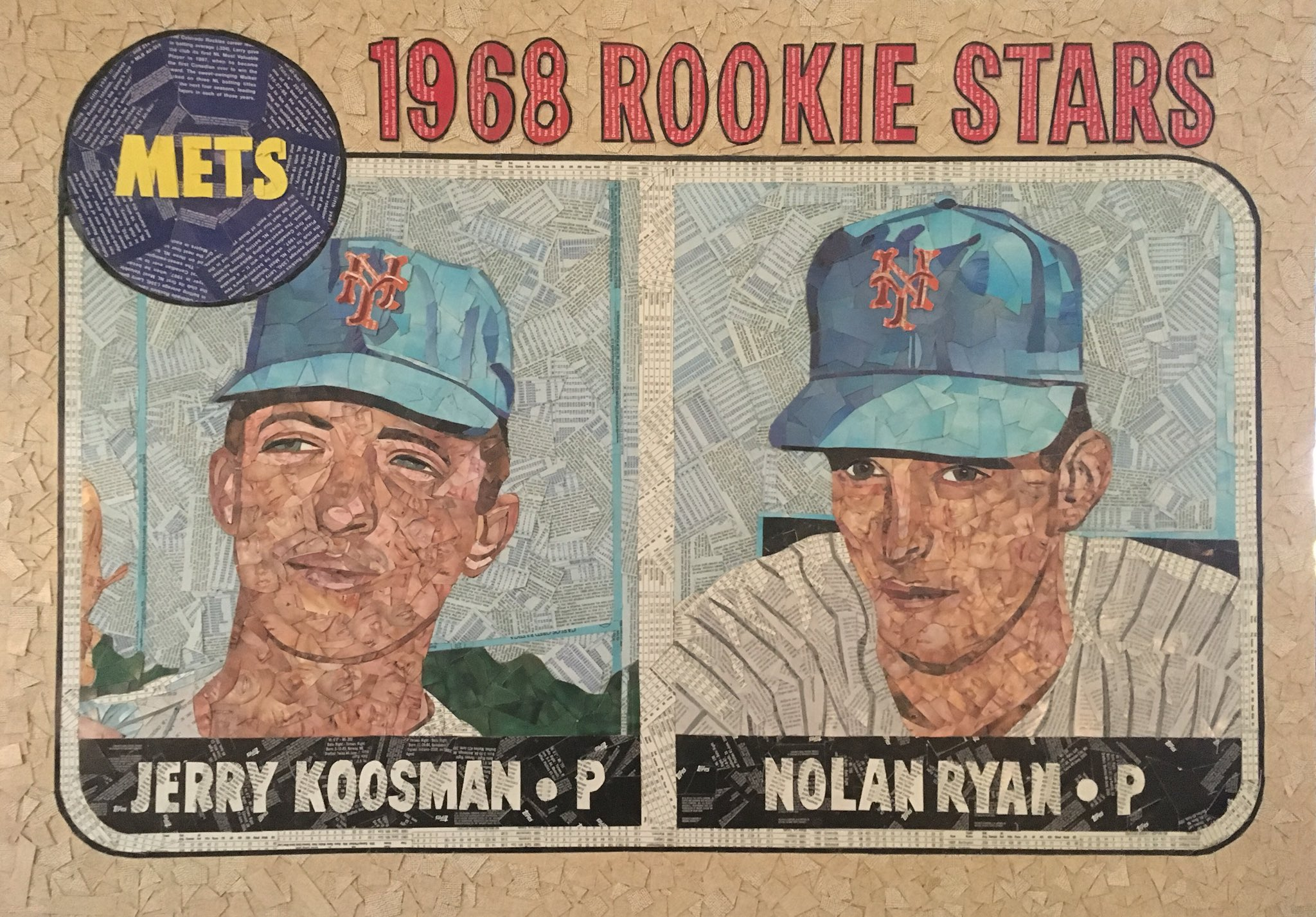Happy 72nd Birthday to Nolan Ryan!  Here is Nolan s 1968 Topps RC, made from cut baseball cards.