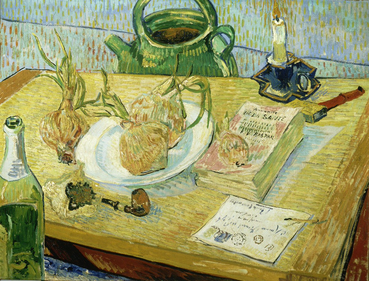 #VanGogh of the Day: Still Life with a Plate of Onions, January 1889. Oil on canvas, 50 x 64 cm. Kröller-Müller Museum, Otterlo.