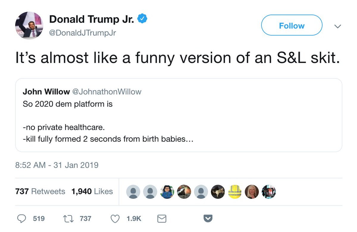 don jr thinks the 'N' in SNL stands for 'and'