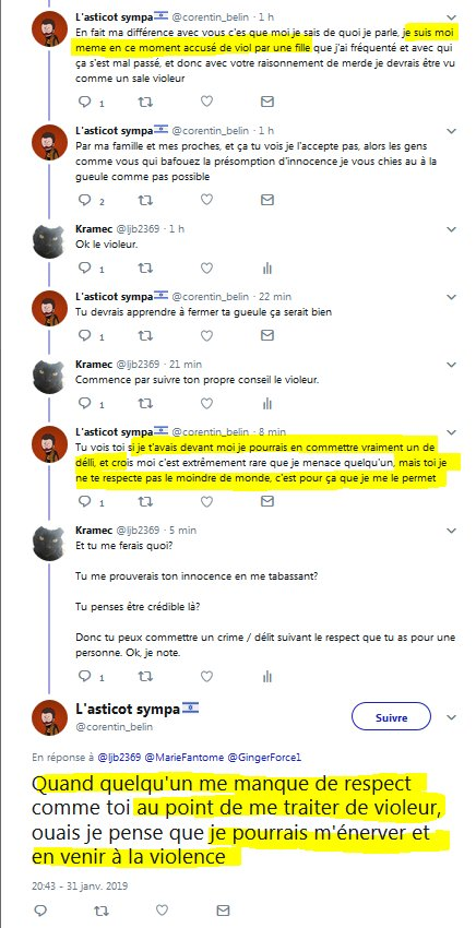 Kramec у твіттері Tw Viol Menaces Si Une Personne