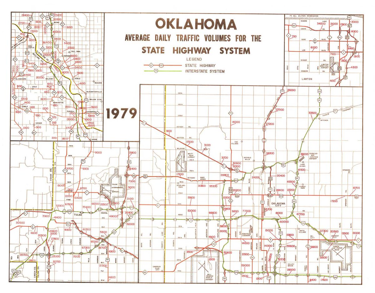 Okdot On Twitter Map Of Average Daily Traffic Counts In Oklahoma