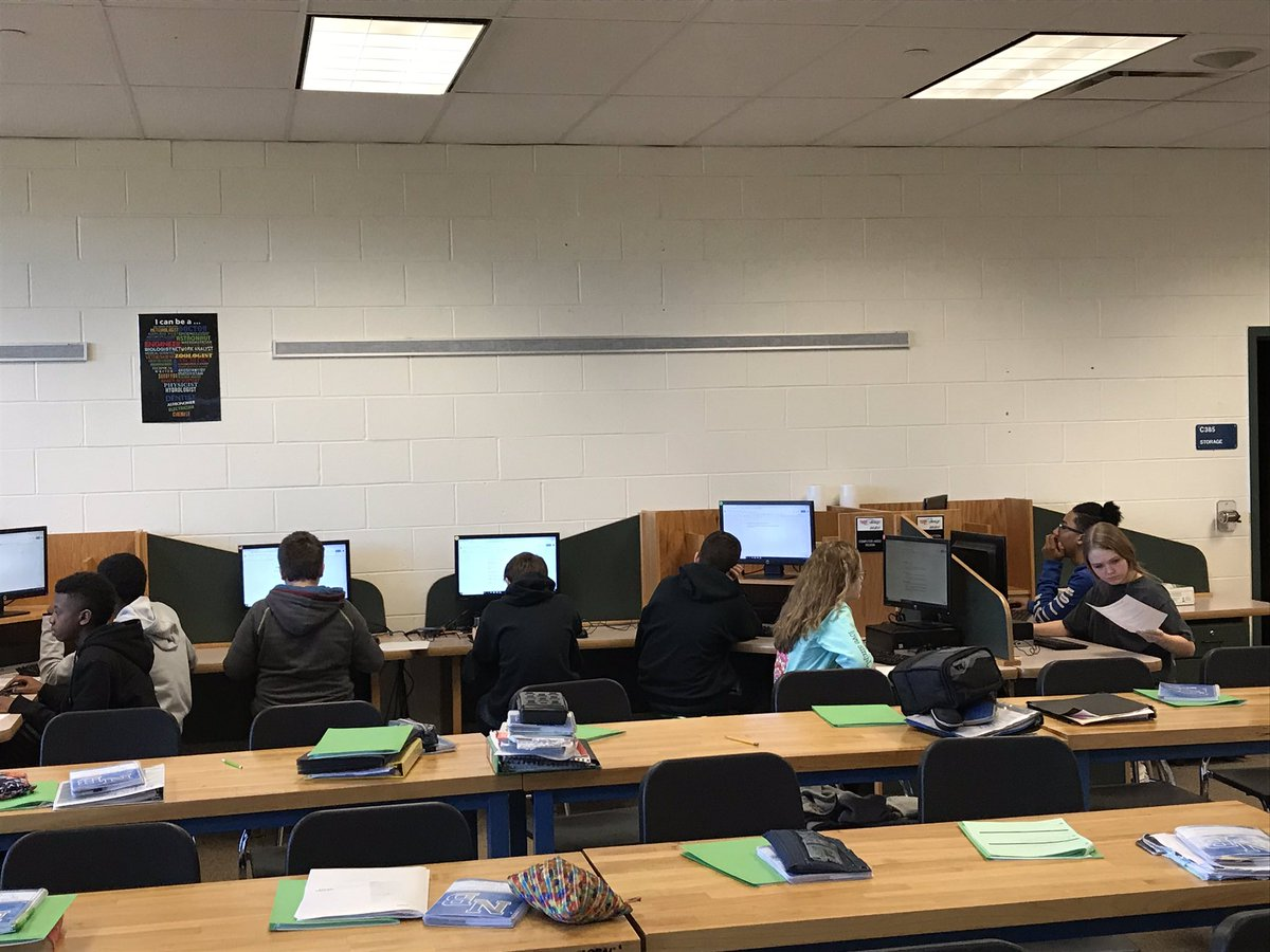 Second semester classes getting started at NBMS. Here students in Applied Technology are working at their computer stations.  #nbnation
