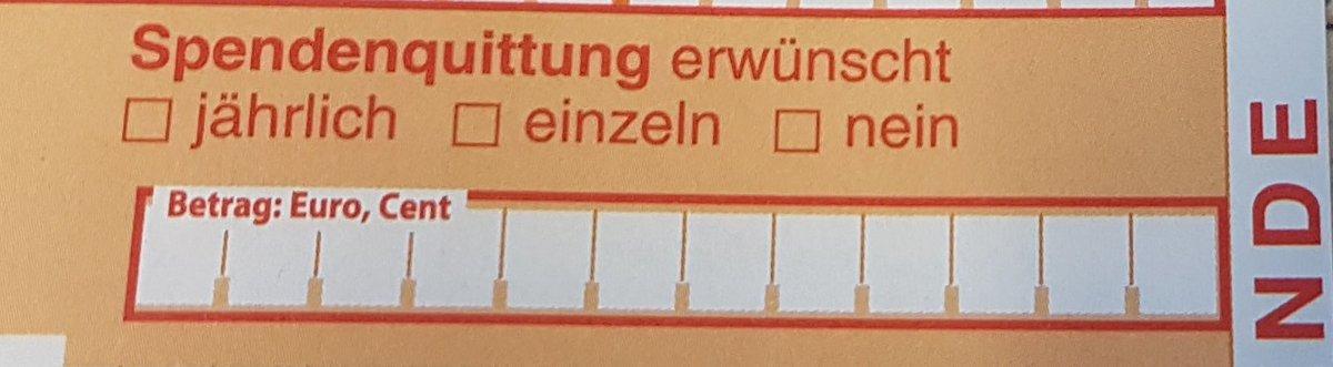 """Zahlscheimausschnitt mit rotem Text über dem Betragfeld und Kästchen """"Spendenquittung erwünscht: jährlich, einzeln, nein""""."""