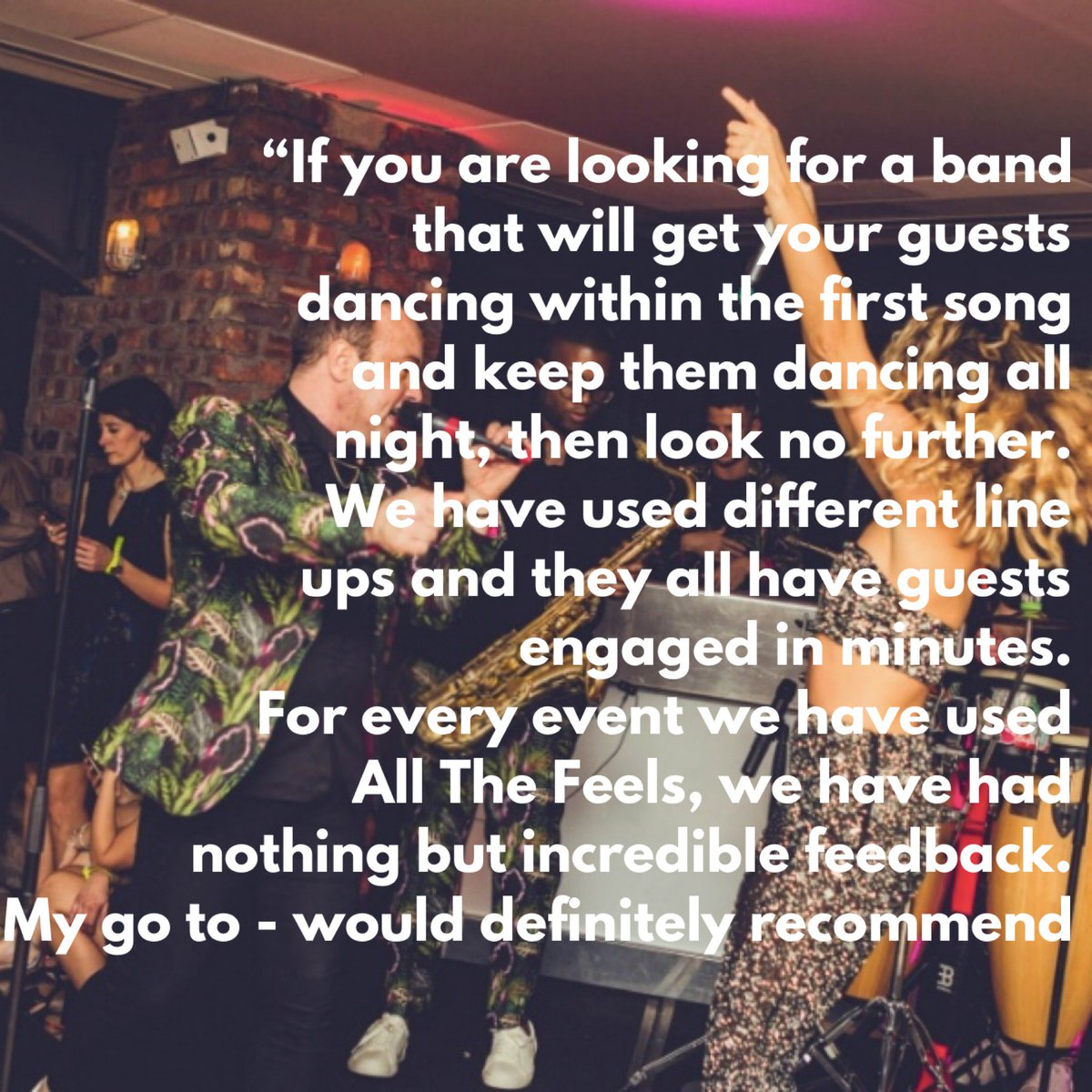 A Lovely review for All The Feels, from the events team at Maxwell's   #music #functionband #partyband #entertainment #isaidyes #weddingentertainment #weddingidears #WeddingPlanning #weddingchecklist #ido #coporateevents #eventprofs #eventprofessionals #reviews #reccomended