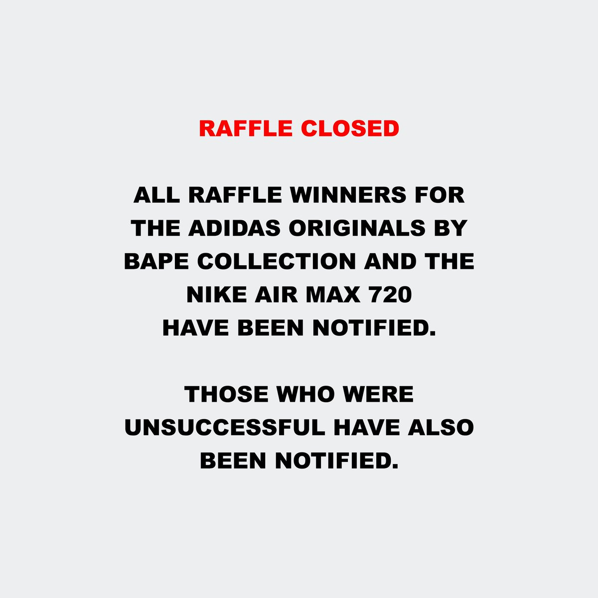 e7ed718d4 Those who were unsuccessful have also been notified.  adidas  bape  nike   airmax720  hanonpic.twitter.com MuebYvHVDc
