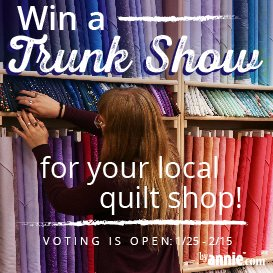 Time's running out - help your local shop win a FREE ByAnnie trunk show today! - https://mailchi.mp/6c5aed02ca84/retail-win-a-trunk-show-2019… #trunkshowcontest #contest #sewingcommunity #quiltingcommunity #byannietrunkshow #patternsbyannie #localquiltshop #quiltshoplove