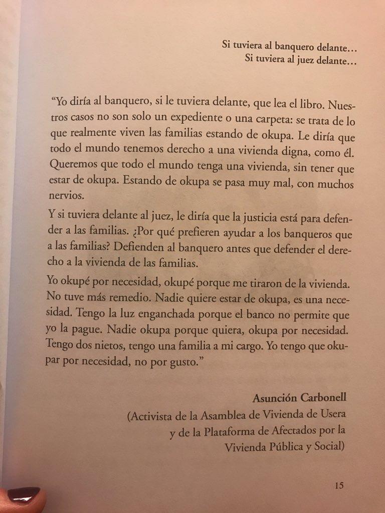 """Mira @pablocasado_ así empieza el libro de @AlertaDesahucio """"la vivienda no es delito"""". #StopOkupas #StopDesahucios"""