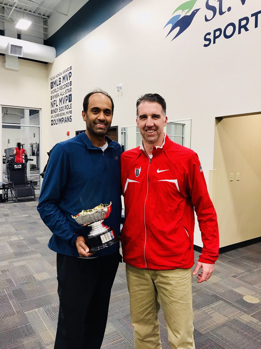 Back home in Indiana! @RajeevRam brings the Australian Open Mixed Doubles Cup to SVSP.  | @ScottJHudson #fingerprintsonmedals