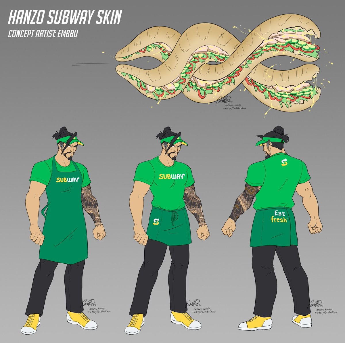 - Hanzo Subway skin -  I got paid for this. I got actual real life money for drawing this.  (not sponsored by subway nor blizzard)