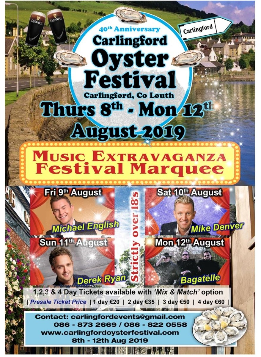 To Celebrate our 40th Anniversary we are adding a music Extravaganza  to our all ready packed Festival Schedule   Get sharing folks   #LouthChat @50ShadesOfLouth   #carlingford #oysterfestival2019  #countrymusic #Bagatelle #Derekryan #Mikedenver #Michaelenglish @insta_dundalk