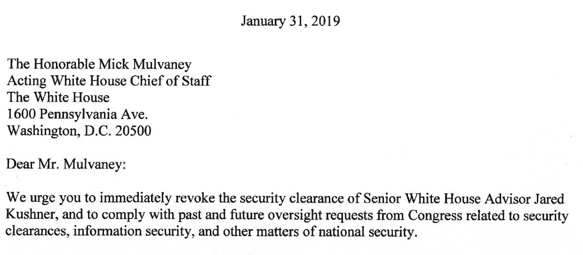 NEW: @RepDonBeyer and @RepTedLieu  just wrote the White House asking for Jared #Kushner's security clearance to be revoked citing @NBCNews  @NBCInvestigates @KenDilanianNBC  @PeterAlexander