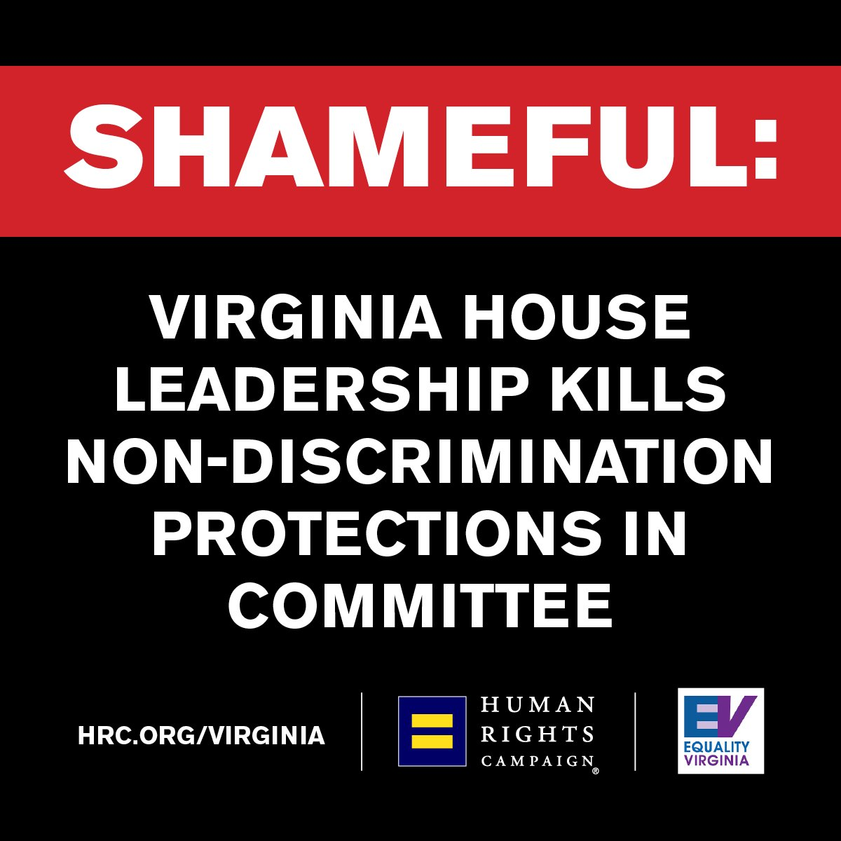 BREAKING: After passing the Senate in bipartisan fashion, @SpeakerCox and House leadership refuse to bring non-discrimination protection bills up for a committee vote. https://www.hrc.org/blog/shameful-va-house-leadership-kills-non-discrim-protections-in-committee …