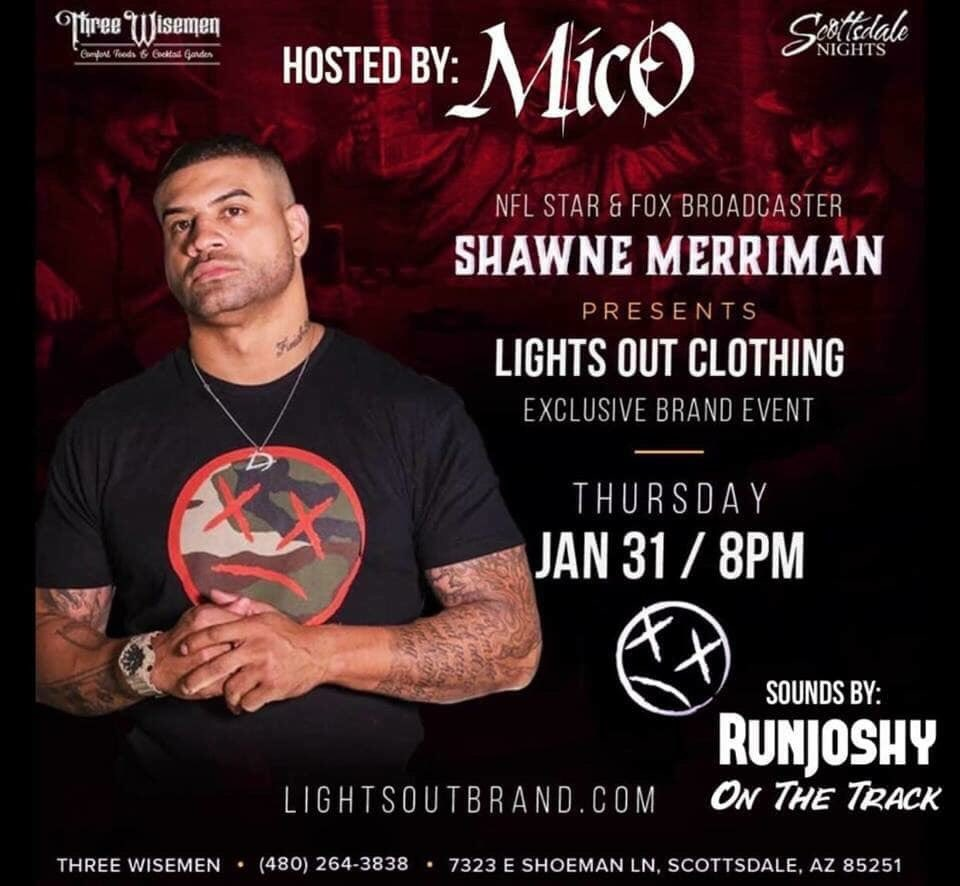 Join us at 8pm for Shawne Merriman VIP Party for Lights Out Brand 🎉 VIP through Ally at 623.225.3986 📲 Sounds by RunJoshy 🎵🎵 @shawnemerriman @LightsOutBrand @ScottsdaleNites @GemRayMedia