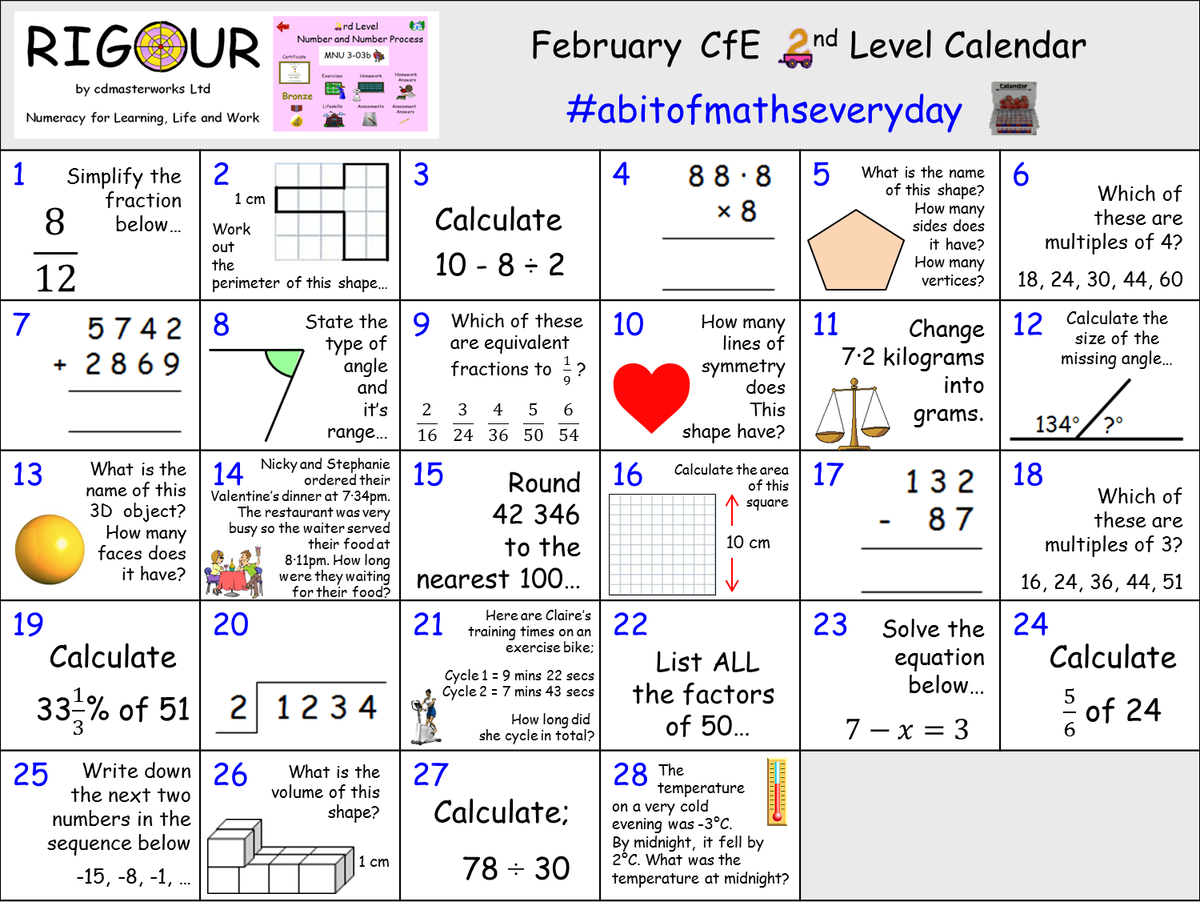 Rigour Maths On Twitter Calling All Bge Pupils Keep Your 2nd Level Numeracy Maths Skills Sharp This Month With Our February Calendar Practice Makes Progress Download The Calendar And View The Answers Here [ 906 x 1200 Pixel ]