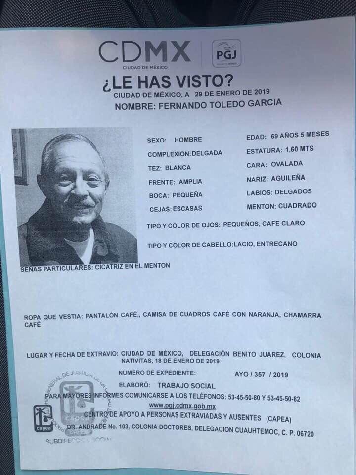 Se activa #AlertaPlateada para localizar a Don Fernando. ¿Lo has visto? Por favor abre la foto y dona un RT? #BenitoJuárez #CiudaddeMéxico