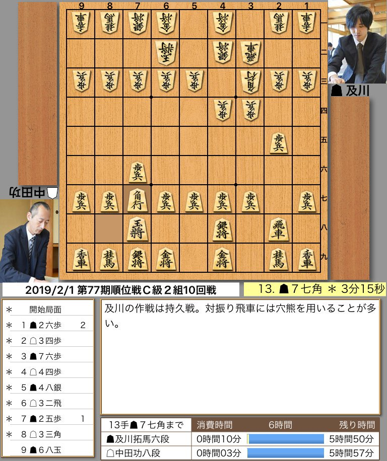 ▲及川六段 vs △中田八段