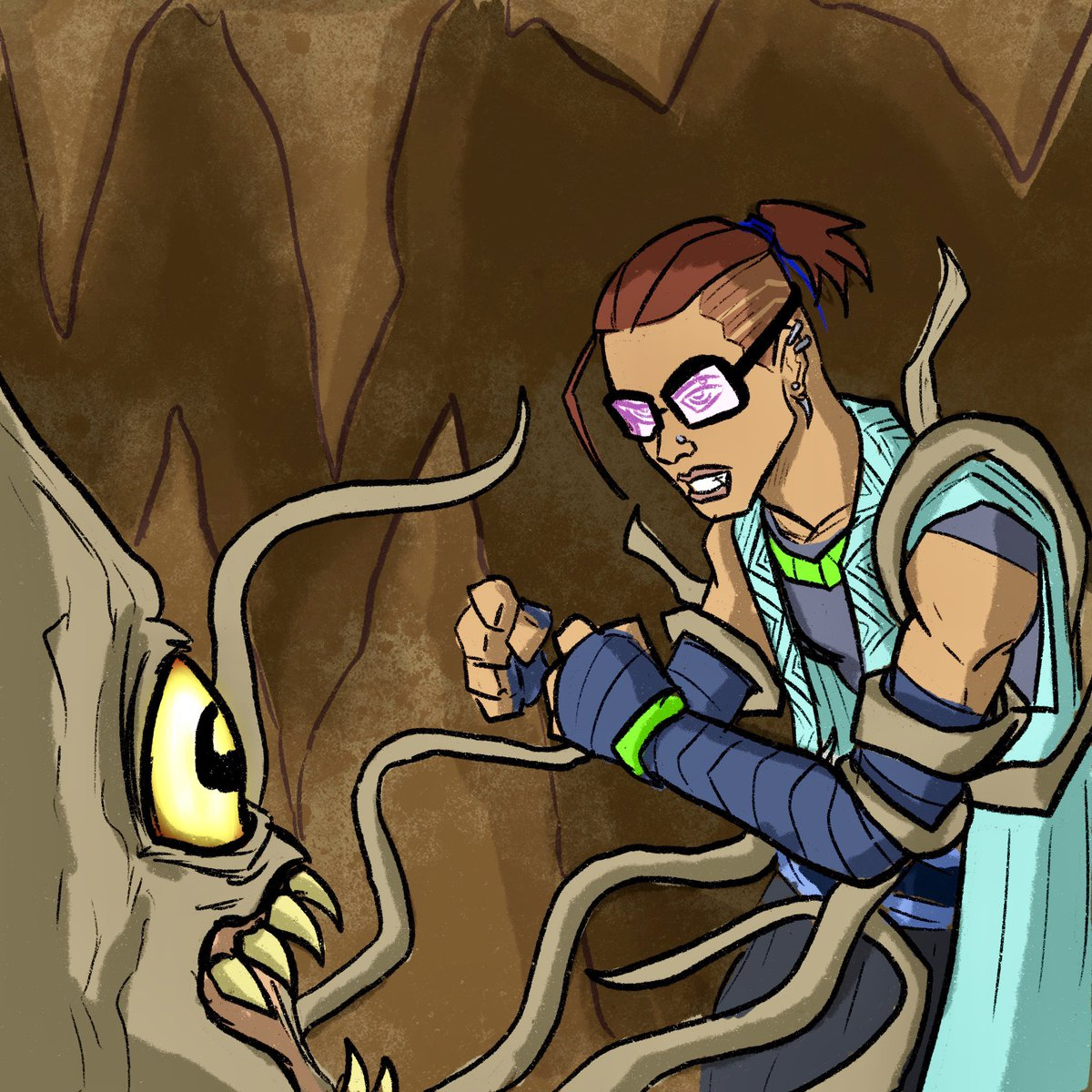 Squaring up to the rock creature, beau punches it's glowing
