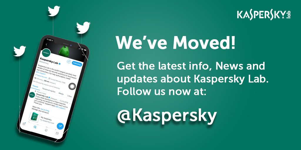 We've moved! To keep up to date with all the latest Kaspersky Lab news, please follow @kaspersky.  For any support queries, please contact @kl_support. https://t.co/qoWlzMtrcQ
