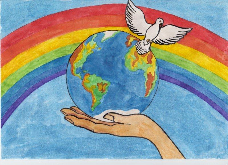 Рисунок спасибо за мир
