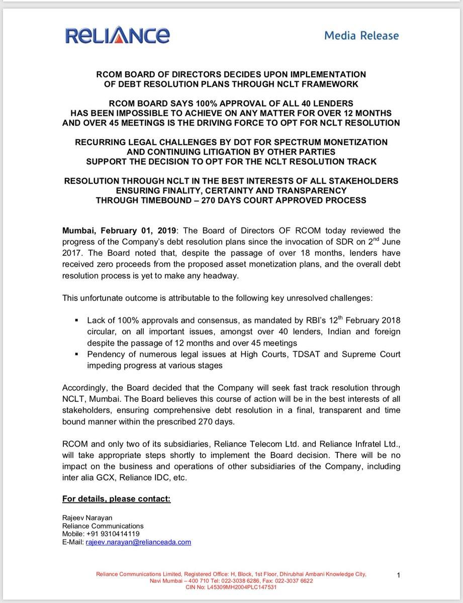 #BreakingNews RCom says it will seek debt resolution under insolvency framework!