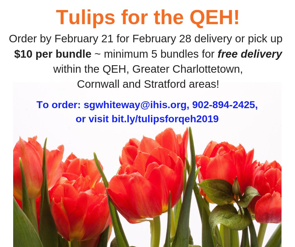 It might be the coldest day of the year but we think it's time to think Spring! We are pleased to be working with @Vancofarms & selling their #tulips in support of the purchase of a new #CTScanner for the #QEH! @TheInspiredCity @CornwallPE @townofstratford #PEI Please share!