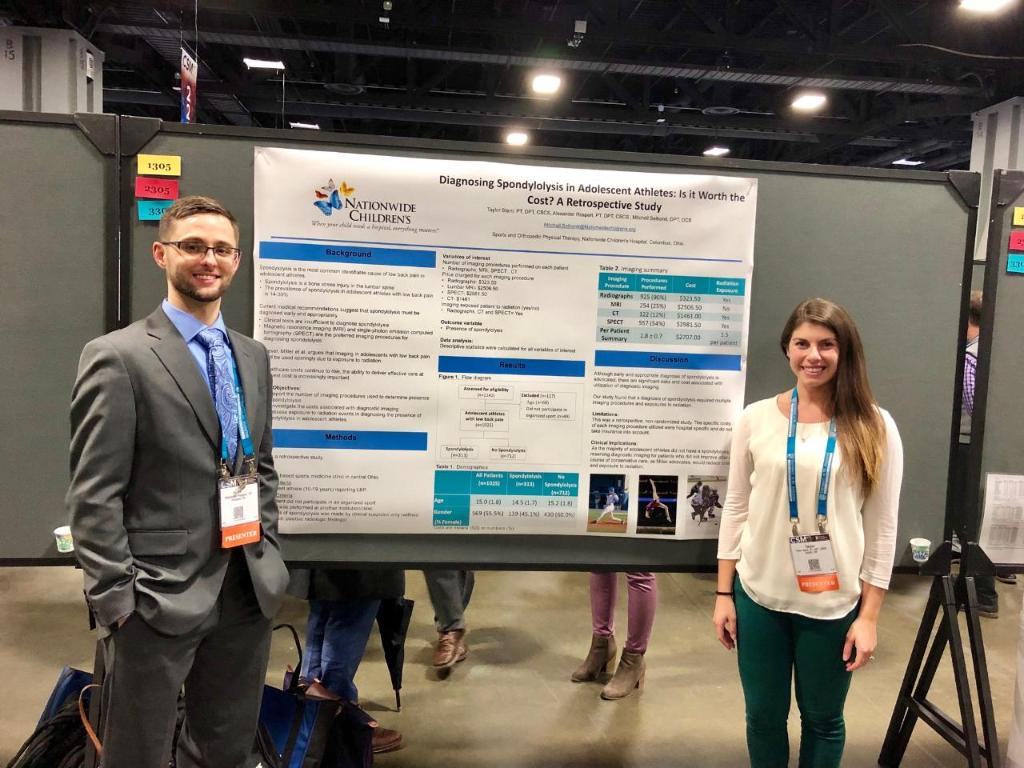 Decreasing the need for imaging for back pain in young athletes?  Alex and Taylor, two of our physical therapists, present their findings at #APTACSM!